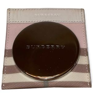 BURBERRY Compact Mirror With Case Pink Candy Nova Check Cosmetic Touch Up Mirror
